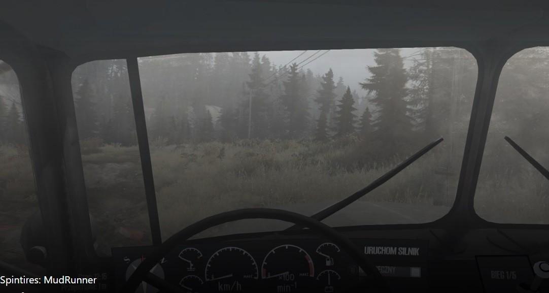 MUDRUNNER – widok z wnętrza pojazdu.